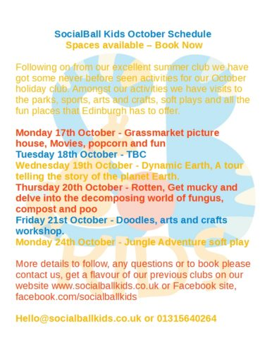 October Holiday Club Edinburgh